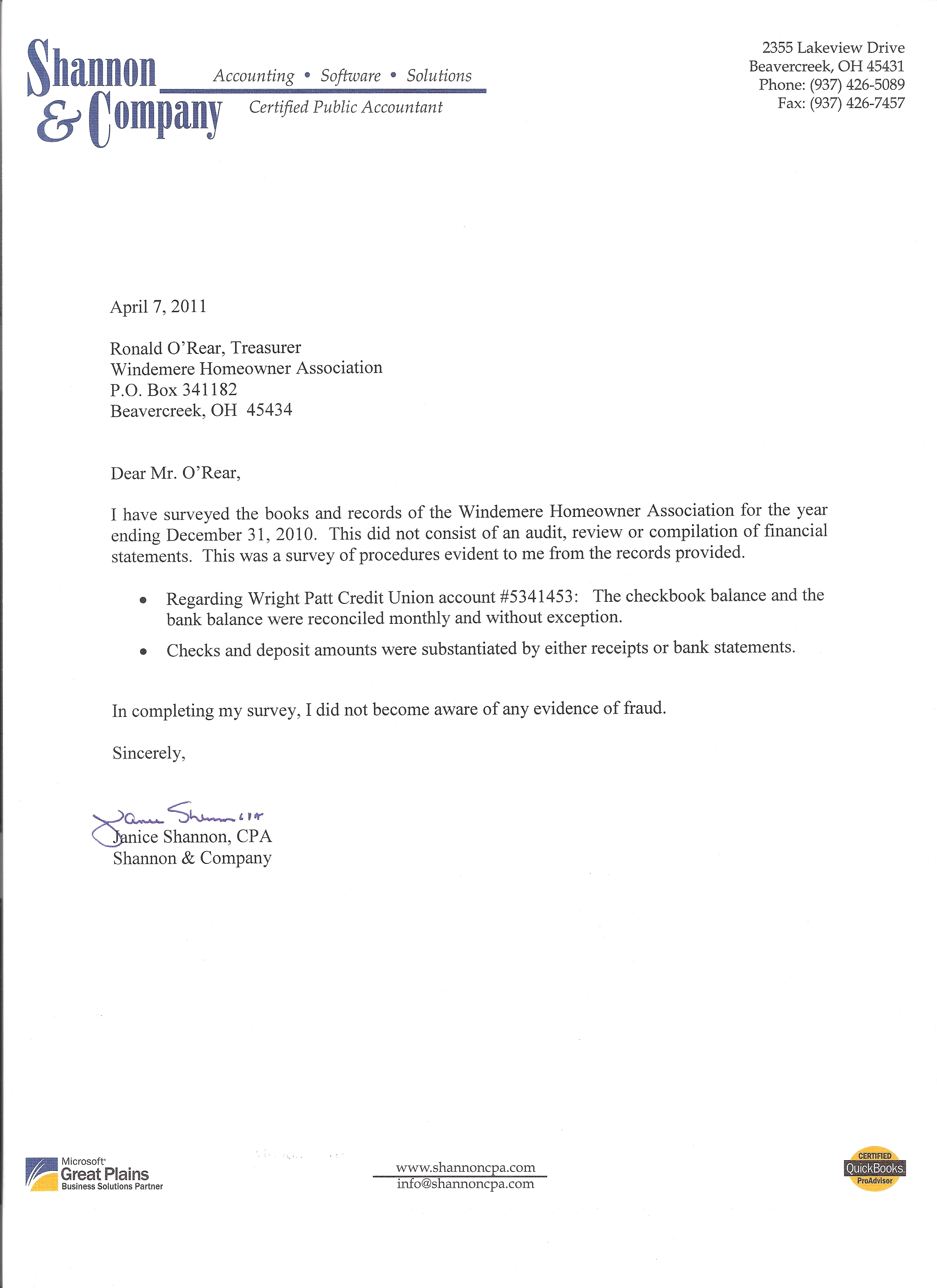 20110407 Annual Windemere Audit Jpg